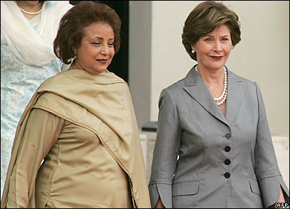 Mrs Sehba Musharraf and Mrs Laura Bush