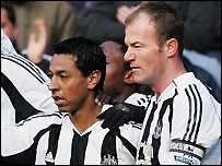 Nolberto Solano (left) and Alan Shearer were both on the scoresheet for Newcastle