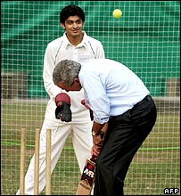President George W Bush playing cricket