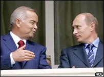 Президент Узбекистана Ислам Каримов и российский лидер Владимир Путин