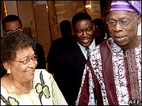 Ellen Johnson-Sirleaf and Olusegun Obasanjo in Abuja