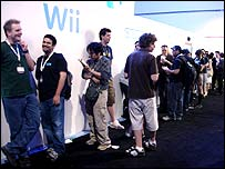 People queuing at the Nintendo stand