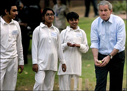 Bush gets ready to bowl