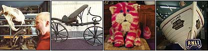 Boy and tiger skeleton, old bicycle, original Bagpuss at Canterbury Museum and  a Zetland lifeboat
