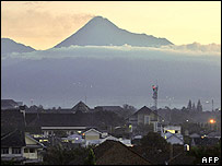 Merapi towering over the town of Yogyakarta