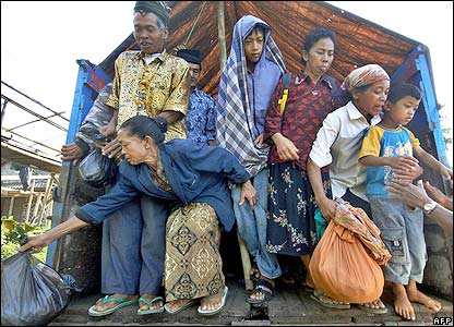 Refugees who fled their homes near Mount Merapi