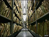 An archive of Stasi files in Berlin