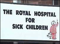 Sick children's hospital sign