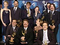 The cast and writers of The West Wing at the Emmy Awards in 2001