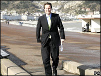 David Cameron arrives at the Welsh Tory conference