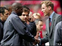 Prince William meets the teams at the Millennium Stadium