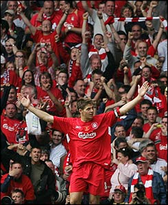 The Liverpool crowd are in raptures after Gerrard's second goal