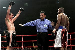 Calzaghe celebrates after his unification destruction of Jeff Lacy