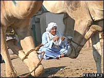 Man sitting near camels, smoking a cigarette and drinking tea