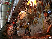 Dead chickens in a Guangzhou market