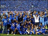 Dinamo Zagreb celebrate winning the championship