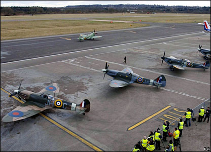 Spitfires parked at Southampton Airport