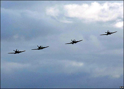 Spitfires in formation over Southampton Airport