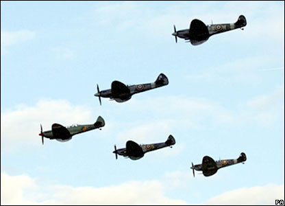 Spitfires over Southampton airport