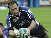 Fly-half Felipe Contepomi squeezed over for Leinster's try