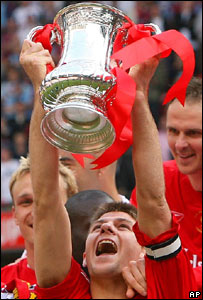 Liverpool captain Steven Gerrard with the FA Cup
