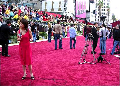 Fans and media arrived at the red carpet on Hollywood Boulevard hours before the awards.