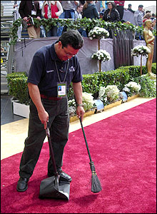 Organisers ensured the red carpet was in immaculate condition in preparation for the stars' arrival.