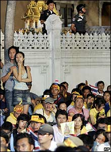 Protestors outside Government House in Bangkok