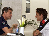 David Coulthard chats with Jenson Button
