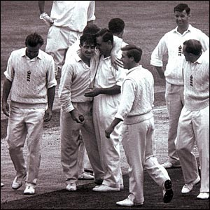 Fred Trueman celebrates his 300th Test wicket