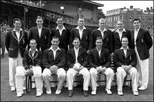 1953 England cricket team at The Oval -  Trueman is pictured top right