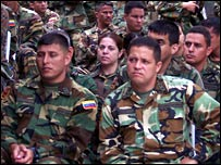 A group of Venezuelan officers being taught all about the civilian reserve