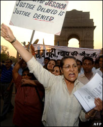 Protests against Jessica Lal judgement in Delhi