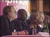 The panel at a debate on Bristol's part in the slave trade