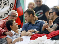 Andriy Shevchenko, out injured, watches AC Milan's final game of the season in the stands