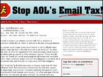 Screengrab of homepage of Anti-AOL e-mail tax campaign, DearAOL Campaign