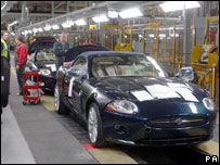 Jaguar car being built in Birmingham, UK