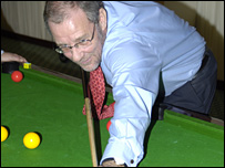 Richard Caborn at Annie's bar pool contest
