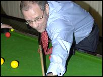 Richard Caborn at Annie's bar pool contest