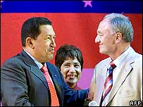 President Chavez shaking hands with the mayor of London