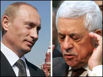 Vladimir Putin (L) and Mahmoud Abbas