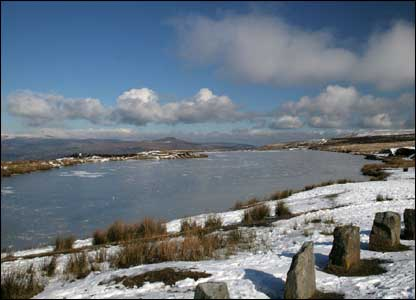 The frozen surface of Keepers pond at Blaenavon (David Richards)