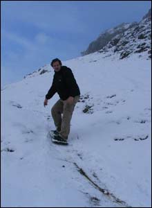 Paul enjoying an unscheduled day off snowboarding on the Little Orme in Llandudno, as sent by Alan Williams