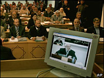 Palestinian Parliament speaker Abdul Aziz Duaik seen on video link from Ramallah at Gaza City parliament meeting 6 March 2006
