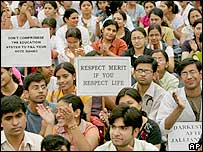 Protesting medical students in Delhi