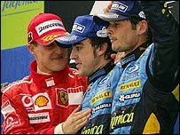 Michael Schumacher (left), Fernando Alonso (middle) and Giancarlo Fisichella