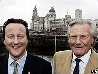 David Cameron and Michael Heseltine with the Liver Building behind