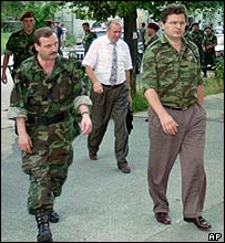 Milan Babic (right) and Milan Martic (left) in Drvar, 1995