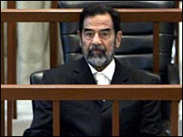 Saddam Hussein at the resumption of his trial on 15 May
