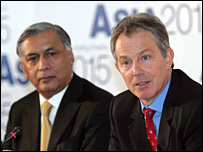 Tony Blair, with his Pakistani counterpart Shaukat Aziz, at the Asia 2015 conference in London 6 March 2006